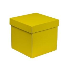 Dárková krabička s víkem 200x200x200/40 mm, žlutá