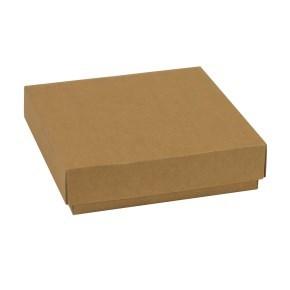 Dárková krabička s víkem 200x200x50/40 mm, hnědá - kraftová