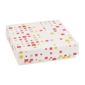 Dárková krabička s víkem 200x200x50/40 mm, VZOR - KOSTKY korálová/žlutá