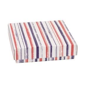 Dárková krabička s víkem 200x200x50/40 mm, VZOR - PRUHY fialová/korálová