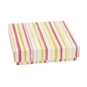 Dárková krabička s víkem 200x200x50/40 mm, VZOR - PRUHY korálová/žlutá