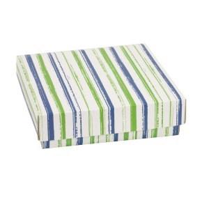 Dárková krabička s víkem 200x200x50/40 mm, VZOR - PRUHY zelená/modrá