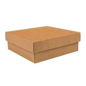 Dárková krabička s víkem 200x200x70/35 mm, hnědá kraftová