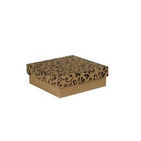 Dárková krabička s víkem 200x200x70/35 mm, hnědá se vzorem lístky, černé