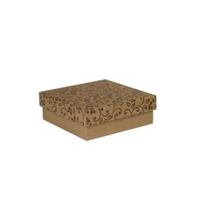 Dárková krabička s víkem 200x200x70/35 mm, hnědá se vzorem lístky, hnědé