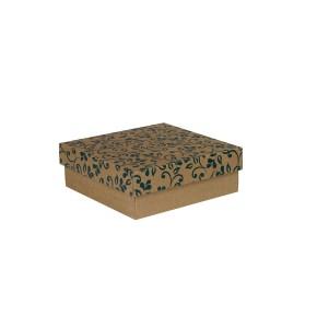 Dárková krabička s víkem 200x200x70/35 mm, hnědá se vzorem lístky, modré