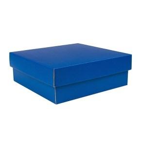 Dárková krabička s víkem 200x200x70/35 mm, modrá matná