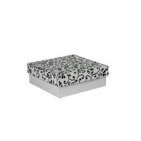 Dárková krabička s víkem 200x200x70/35 mm, šedá se vzorem lístky, černé