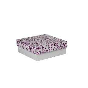 Dárková krabička s víkem 200x200x70/35 mm, šedá se vzorem lístky, fialové