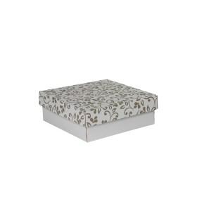 Dárková krabička s víkem 200x200x70/35 mm, šedá se vzorem lístky, hnědé