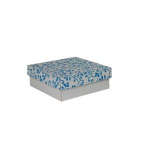 Dárková krabička s víkem 200x200x70/35 mm, šedá se vzorem lístky, modré