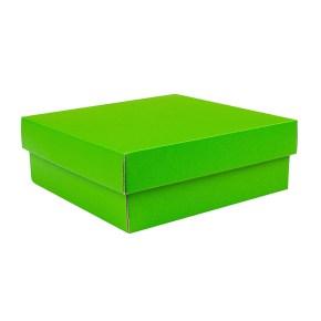 Dárková krabička s víkem 200x200x70/35 mm, zelená matná