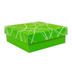 Dárková krabička s víkem 200x200x70/35 mm, zelená se vzorem matná