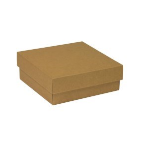Dárková krabička s víkem 200x200x70/40 mm, hnědá - kraftová