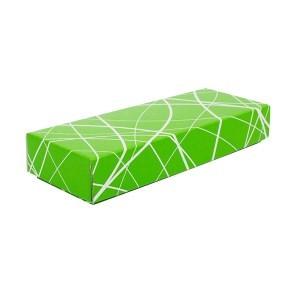 Dárková krabička s víkem 230x70x35/35, zelená se vzorem matná