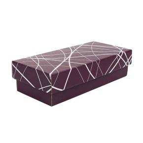 Dárková krabička s víkem 250x100x60/35, vínová se vzorem matná