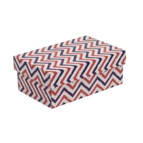Dárková krabička s víkem 250x150x100/40 mm, VZOR - CIK CAK fialová/korálová