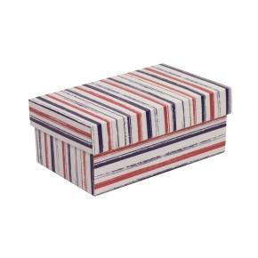 Dárková krabička s víkem 250x150x100/40 mm, VZOR - PRUHY fialová/korálová