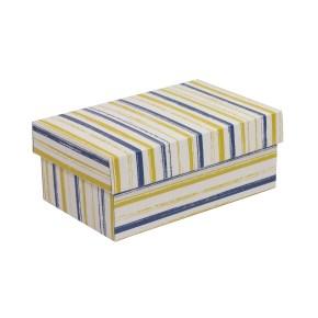 Dárková krabička s víkem 250x150x100/40 mm, VZOR - PRUHY modrá/žlutá
