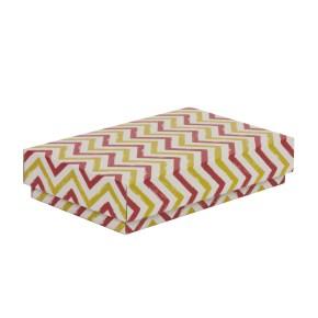 Dárková krabička s víkem 250x150x50/40 mm, VZOR - CIK CAK korálová/žlutá