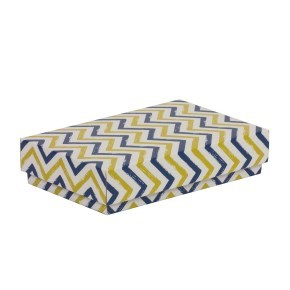 Dárková krabička s víkem 250x150x50/40 mm, VZOR - CIK CAK modrá/žlutá