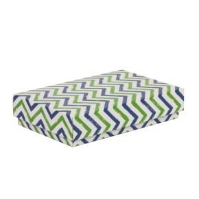 Dárková krabička s víkem 250x150x50/40 mm, VZOR - CIK CAK zelená/modrá