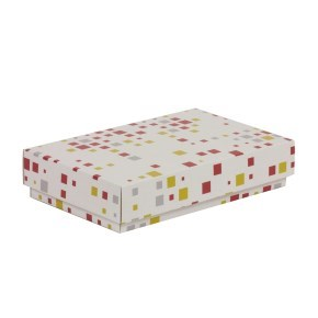 Dárková krabička s víkem 250x150x50/40 mm, VZOR - KOSTKY korálová/žlutá