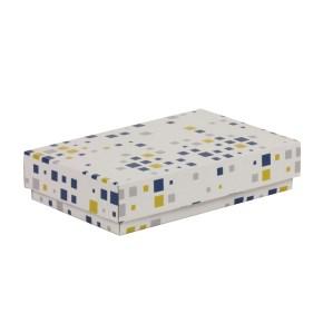 Dárková krabička s víkem 250x150x50/40 mm, VZOR - KOSTKY modrá/žlutá