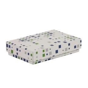 Dárková krabička s víkem 250x150x50/40 mm, VZOR - KOSTKY zelená/modrá