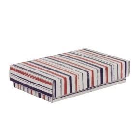 Dárková krabička s víkem 250x150x50/40 mm, VZOR - PRUHY fialová/korálová