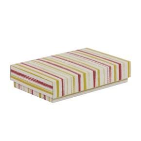 Dárková krabička s víkem 250x150x50/40 mm, VZOR - PRUHY korálová/žlutá