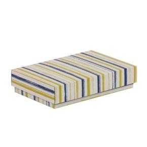 Dárková krabička s víkem 250x150x50/40 mm, VZOR - PRUHY modrá/žlutá