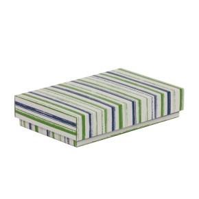 Dárková krabička s víkem 250x150x50/40 mm, VZOR - PRUHY zelená/modrá