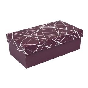 Dárková krabička s víkem 250x170x110/35, vínová se vzorem matná