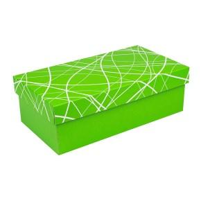 Dárková krabička s víkem 250x170x110/35, zelená se vzorem matná