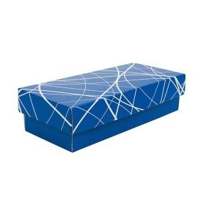 Dárková krabička s víkem 280x130x80/35, modrá se vzorem matná