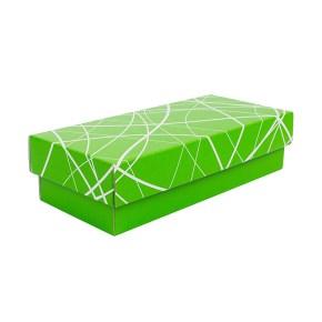 Dárková krabička s víkem 280x130x80/35, zelená se vzorem matná