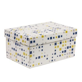 Dárková krabička s víkem 300x200x150/40 mm, VZOR - KOSTKY modrá/žlutá