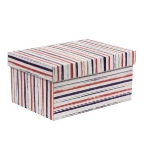 Dárková krabička s víkem 300x200x150/40 mm, VZOR - PRUHY fialová/korálová