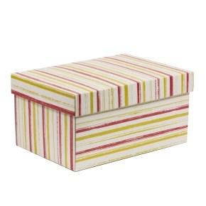 Dárková krabička s víkem 300x200x150/40 mm, VZOR - PRUHY korálová/žlutá