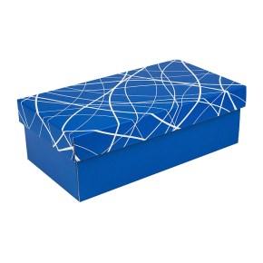 Dárková krabička s víkem 310x160x100/35, modrá se vzorem matná