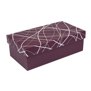Dárková krabička s víkem 310x160x100/35, vínová se vzorem matná