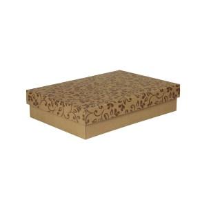 Dárková krabička s víkem 330x220x70/35 mm, hnědá se vzorem lístky, hnědé