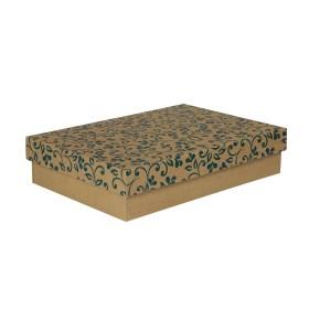 Dárková krabička s víkem 330x220x70/35 mm, hnědá se vzorem lístky, modré