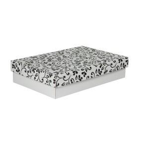 Dárková krabička s víkem 330x220x70/35 mm, šedá se vzorem lístky, černé
