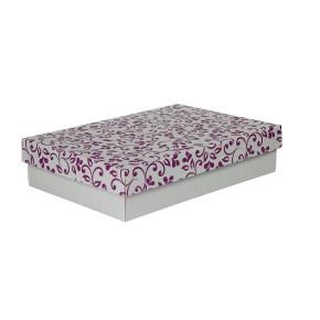 Dárková krabička s víkem 330x220x70/35 mm, šedá se vzorem lístky, fialové