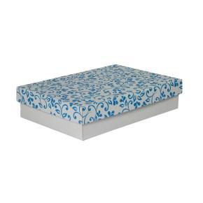 Dárková krabička s víkem 330x220x70/35 mm, šedá se vzorem lístky, modré