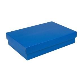 Dárková krabička s víkem 355x250x80/35 mm, modrá matná