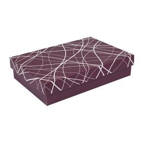 Dárková krabička s víkem 380x270x90/35 mm, vínová se vzorem na víku