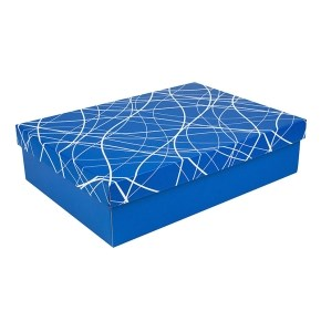Dárková krabička s víkem 405x290x100/35 mm, modrá se vzorem